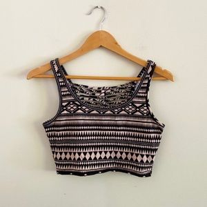 Tribal print caged crop top from Charlotte Russe